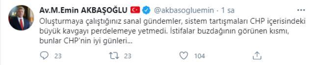 3 vekilin istifasından sonra AK Partili Emin Akbaşoğlu'ndan dikkat çeken paylaşım: Bunlar CHP'nin iyi günleri