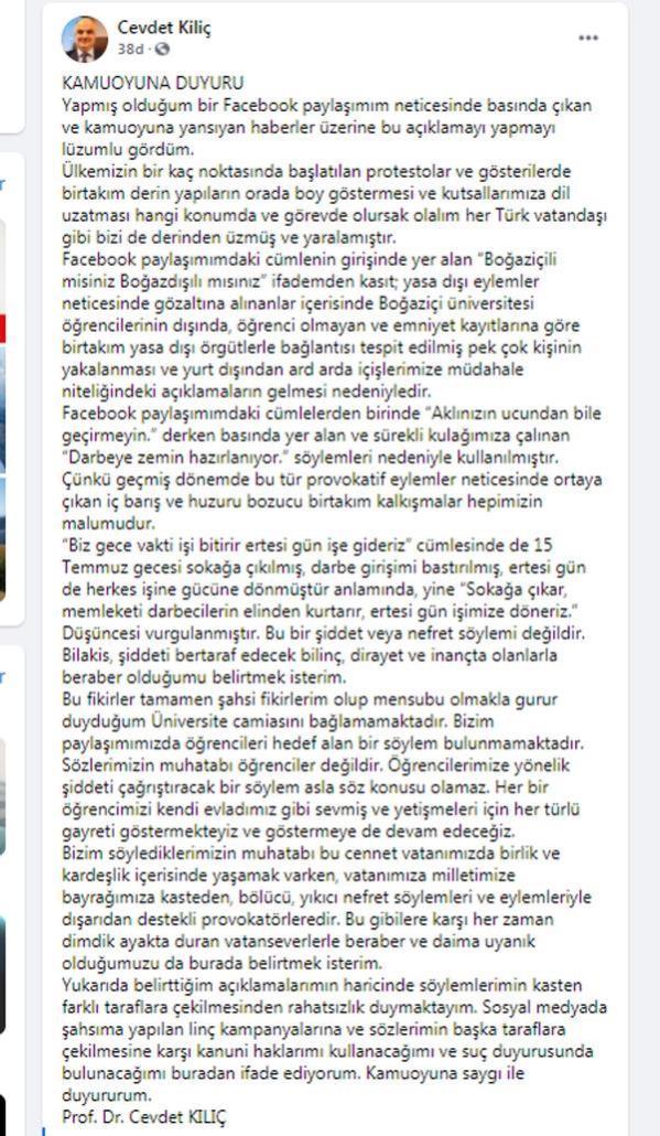 Boğaziçili öğrencileri tehdit eden Dekan Cevdet Kılıç, tepkiler sonrası geri adım attı