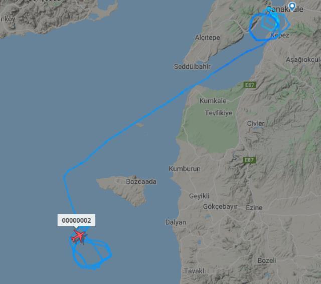 Çanakkale üzerinde belirsiz rota çizen uçak merak konusu oldu