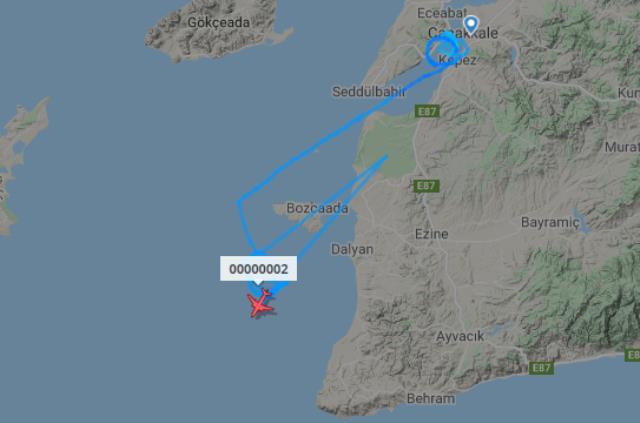 Çanakkale üzerinde belirsiz bir rota çizen uçak merak konusu oldu
