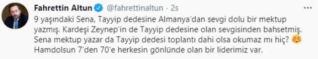 Cumhurbaşkanı Erdoğan, minik Sena'nın sevgi dolu mektubunu okudu