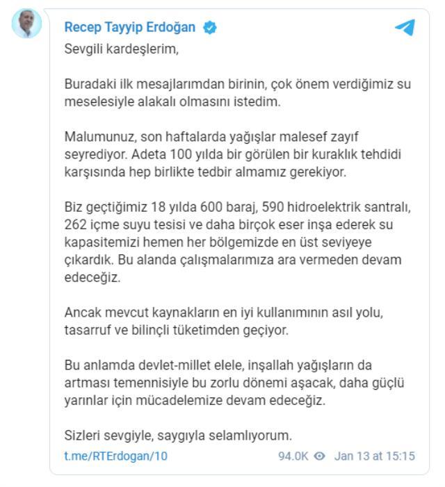 Cumhurbaşkanı Erdoğan, Telegram üzerinden ilk mesajını paylaştı: Kuraklık tehdidine karşı hep birlikte tedbir almalıyız