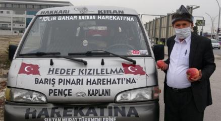 Elmacı Dede Mehmetçik için bin 614 kilometre yol kat etti