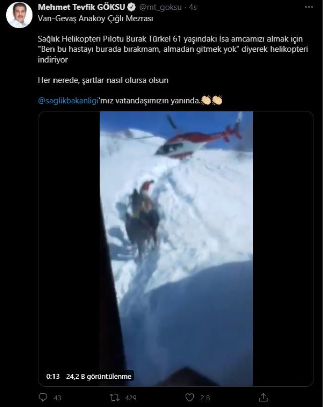 Kahraman pilot gönülleri fethetti! 'Almadan gitmek yok' deyip helikopterle zorlu bölgeye indi