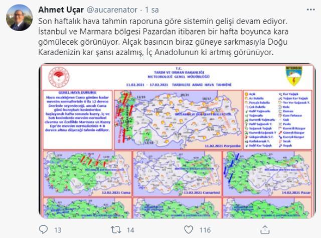 Meteoroloji uzmanlarından art arda uyarılar: İstanbul pazar gününden itibaren bir hafta boyunca kara gömülecek
