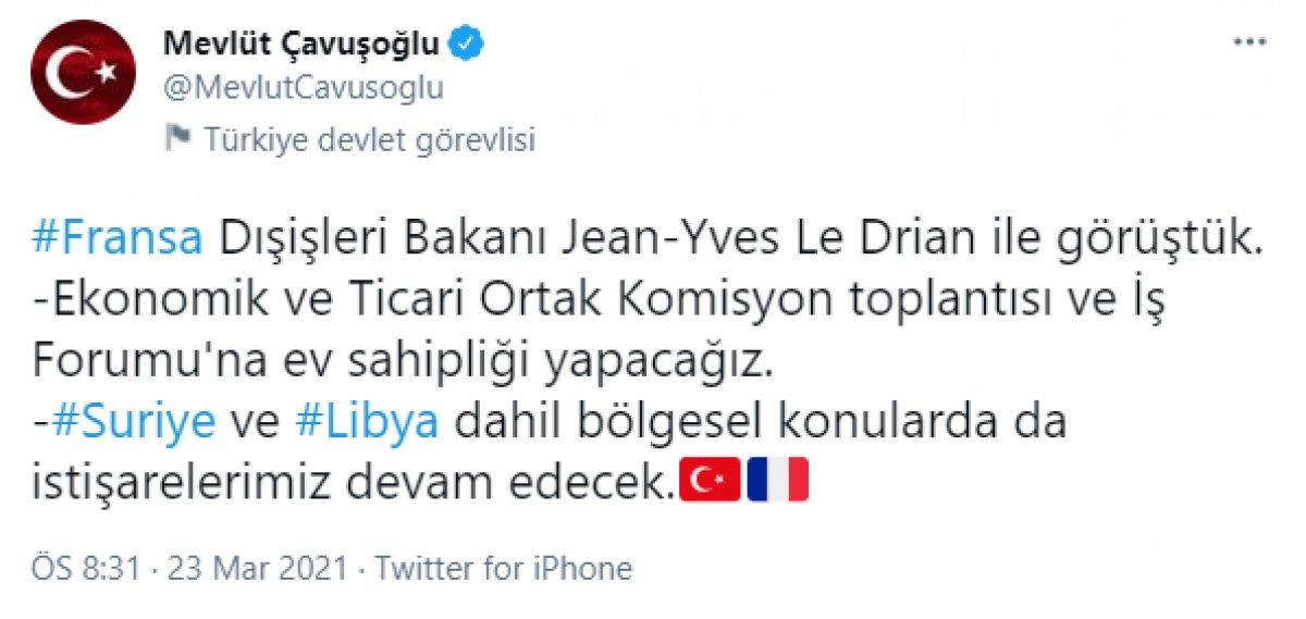 Mevlüt Çavuşoğlu, Fransız mevkidaşıyla görüştü #1
