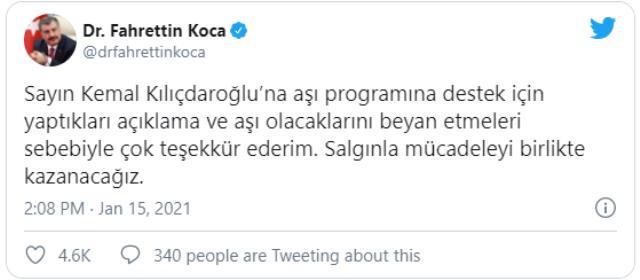 Sağlık Bakanı Koca, 'Aşı için sıramı bekleyeceğim' diyen CHP lideri Kılıçdaroğlu'na teşekkür etti