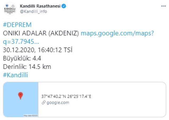 Son Dakika: İzmir'in Urla açıklarında 4.3 büyüklüğünde deprem meydana geldi