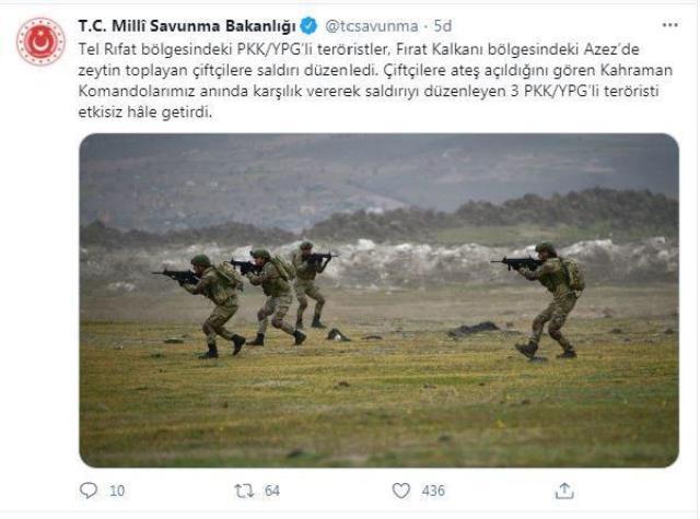 Son Dakika: Azez'de zeytin toplayan çiftçilere saldırı düzenleyen 3 PKK'lı terörist etkisiz hale getirildi