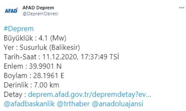 Son Dakika: Balıkesir'de 4,1 büyüklüğünde bir deprem meydana geldi