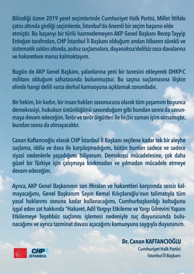 Son Dakika: Canan Kaftancıoğlu, kendisine 'DHKP militanıdır' diyen Cumhurbaşkanı Erdoğan'a tazminat davası açacak