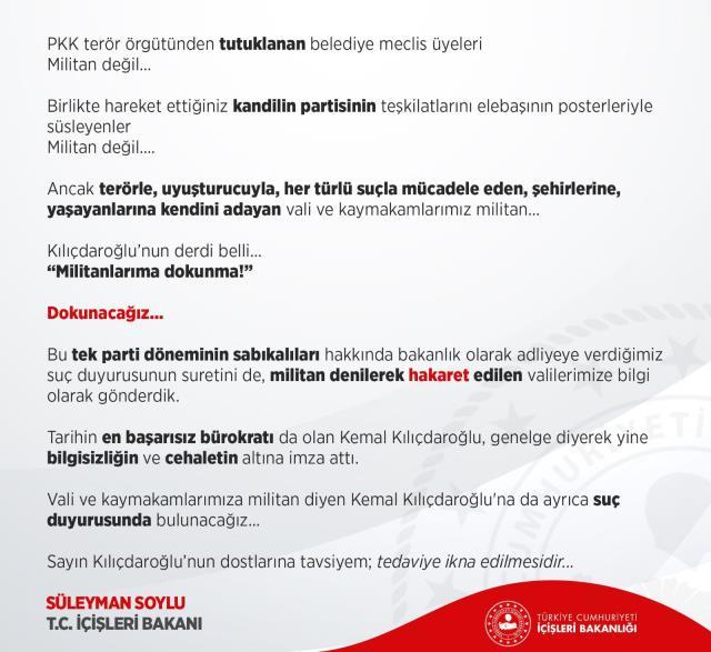 Son Dakika: İçişleri Bakanlığı, vali ve kaymakamlara militan diyen Kılıçdaroğlu hakkında suç duyurusunda bulunacak