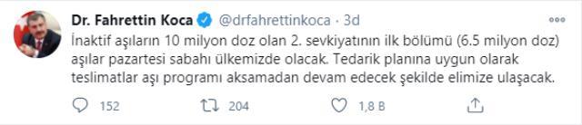 Son Dakika! Sağlık Bakanı Koca: Çin'den alınan 6,5 milyon doz koronavirüs aşısı pazartesi sabahı Türkiye'de olacak