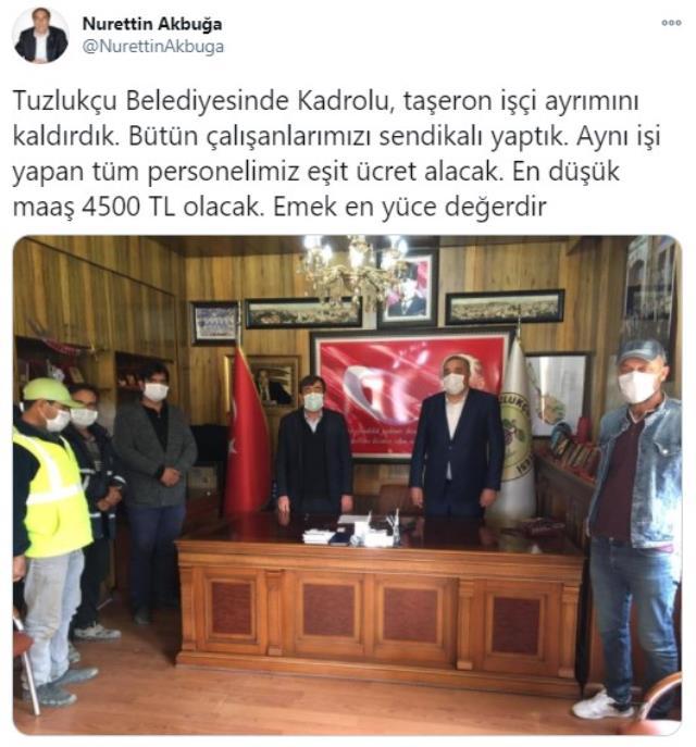 Türkiye'nin en yüksek asgari ücreti Tuzlukçu Belediyesi'nde: 4 bin 500 TL