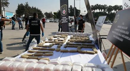 Akdenizde ele geçirilen 1,5 ton uyuşturucu Mersinde sergilendi