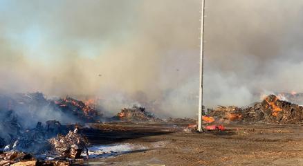 Biyokütle enerji santrali yangınında alevler 60 dönümlük alanı etkiledi